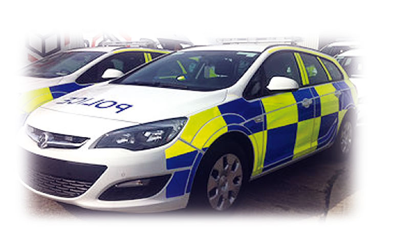 Specialist equipment fitted onto new Vauxhall Astra and Ford Focus Nottingham Police patrol cars.
